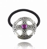 Celtic Cross Hair Bobble with Purple Stone